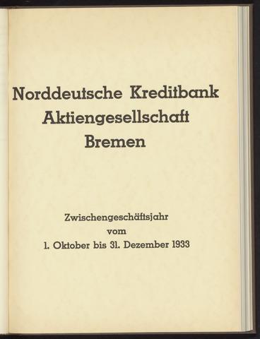 Geschäftsberichte Norddeutsche Kreditbank 1933