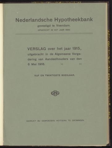 Jaarverslagen Nederlandsche Hypotheekbank 1915