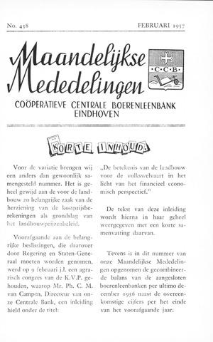 blad 'Maandelijkse Mededelingen' (CCB) 1957-02-01