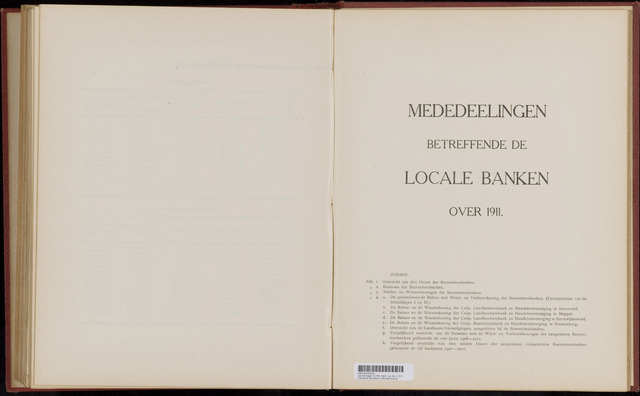 Mededelingen lokale banken CCRB 1911-12-31