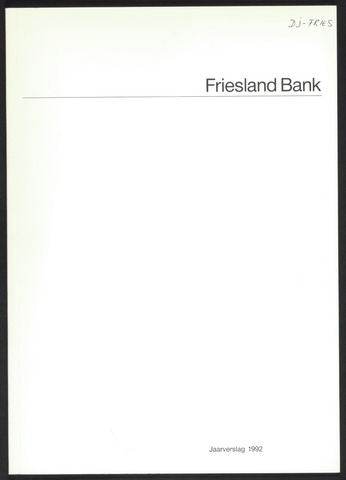 Jaarverslagen Friesland Bank 1992