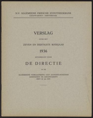 Jaarverslagen Algemeene Friesche Hypotheekbank 1936