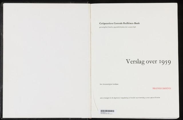 Jaarverslagen Coöperatieve Centrale Raiffeisen-Bank 1959-12-31