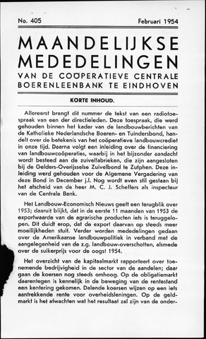 blad 'Maandelijkse Mededelingen' (CCB) 1954-02-01