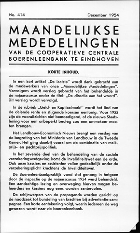 blad 'Maandelijkse Mededelingen' (CCB) 1954-12-01