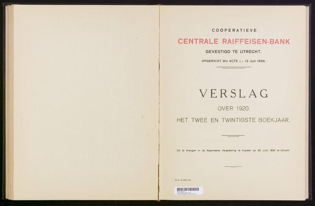 Jaarverslagen Coöperatieve Centrale Raiffeisen-Bank 1920-12-31