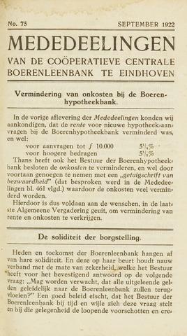 blad 'Maandelijkse Mededelingen' (CCB) 1922-09-01