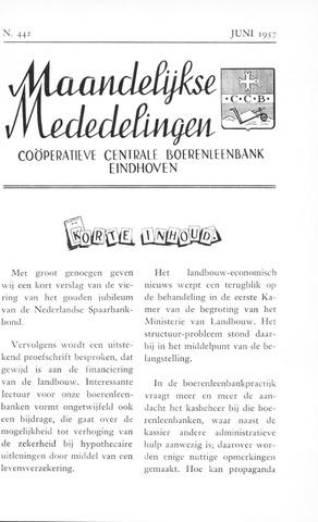 blad 'Maandelijkse Mededelingen' (CCB) 1957-06-01