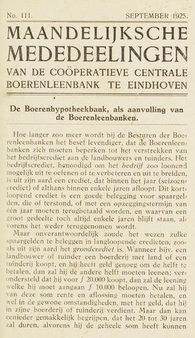 blad 'Maandelijkse Mededelingen' (CCB) 1925-09-01