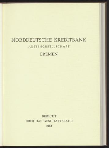 Geschäftsberichte Norddeutsche Kreditbank 1954