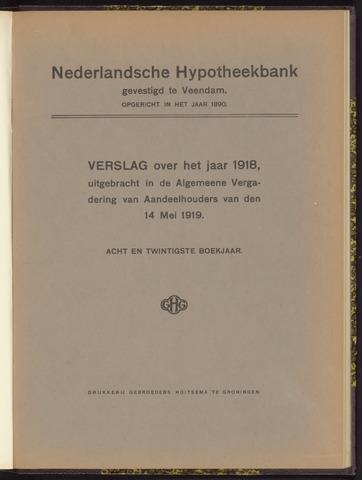 Jaarverslagen Nederlandsche Hypotheekbank 1918-01-01