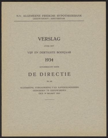 Jaarverslagen Algemeene Friesche Hypotheekbank 1934