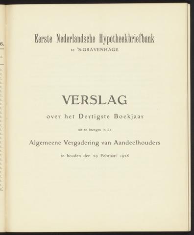 Jaarverslagen Eerste Nederlansche Hypotheekbriefbank 1927