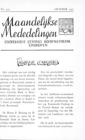 blad 'Maandelijkse Mededelingen' (CCB) 1957-10-01
