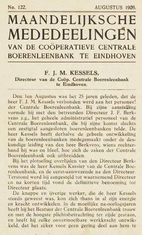 blad 'Maandelijkse Mededelingen' (CCB) 1926-08-01