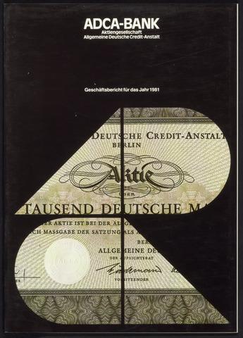 Geschäftsberichte Allgemeine Deutsche Credit-Anstalt / ADCA Bank 1981-01-01