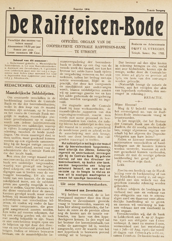 blad 'De Raiffeisen-bode' (CCRB) 1916-08-01