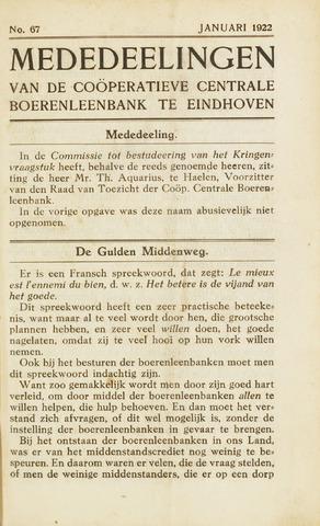 blad 'Maandelijkse Mededelingen' (CCB) 1922