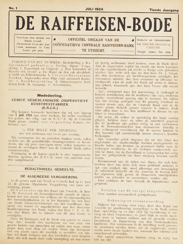 blad 'De Raiffeisen-bode' (CCRB) 1924-07-01