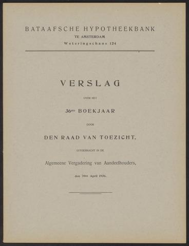 Jaarverslagen Bataafsche Hypotheekbank 1925