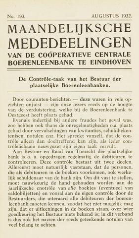 blad 'Maandelijkse Mededelingen' (CCB) 1932-08-01