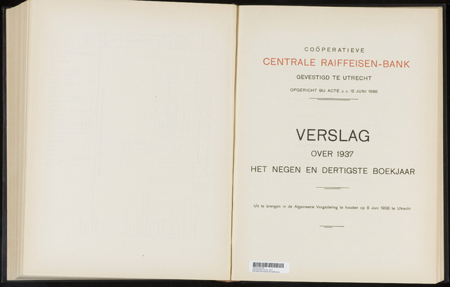 Jaarverslagen Coöperatieve Centrale Raiffeisen-Bank 1937-12-31