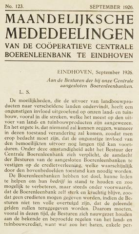 blad 'Maandelijkse Mededelingen' (CCB) 1926-09-01