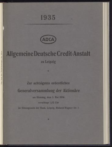 Geschäftsberichte Allgemeine Deutsche Credit-Anstalt / ADCA Bank 1935