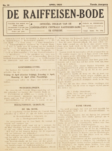 blad 'De Raiffeisen-bode' (CCRB) 1925-04-01