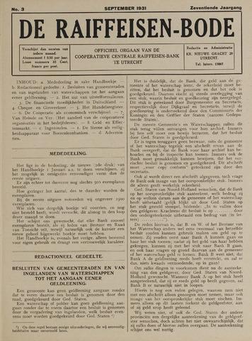 blad 'De Raiffeisen-bode' (CCRB) 1931-09-01
