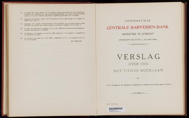 Jaarverslagen Coöperatieve Centrale Raiffeisen-Bank 1908-12-31