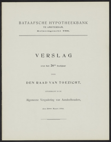 Jaarverslagen Bataafsche Hypotheekbank 1915