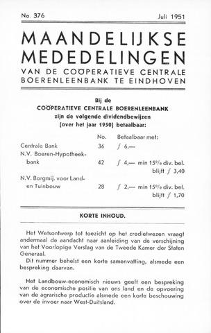 blad 'Maandelijkse Mededelingen' (CCB) 1951-07-01