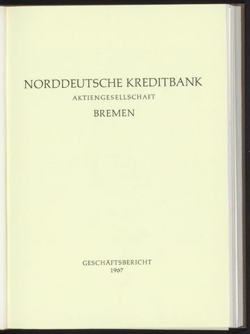 Geschäftsberichte Norddeutsche Kreditbank 1967
