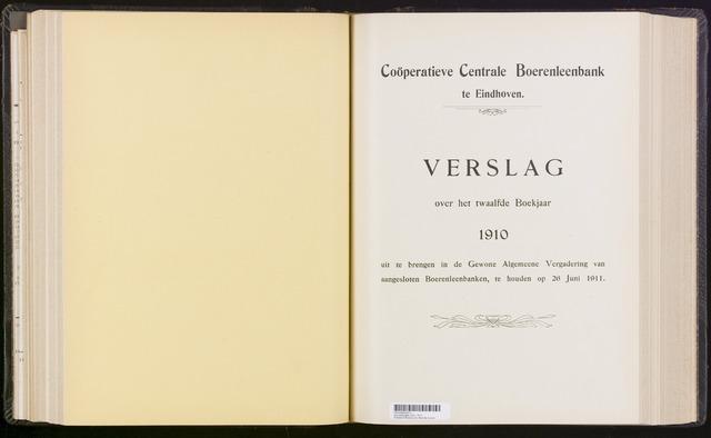 Jaarverslagen Coöperatieve Centrale Boerenleenbank 1910-12-31