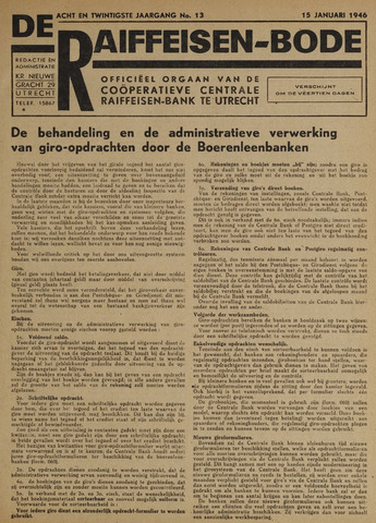 blad 'De Raiffeisen-bode' (CCRB) 1946-01-15
