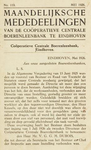 blad 'Maandelijkse Mededelingen' (CCB) 1926-05-01