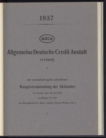 Geschäftsberichte Allgemeine Deutsche Credit-Anstalt / ADCA Bank 1937-01-01