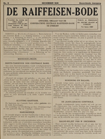 blad 'De Raiffeisen-bode' (CCRB) 1931-12-01