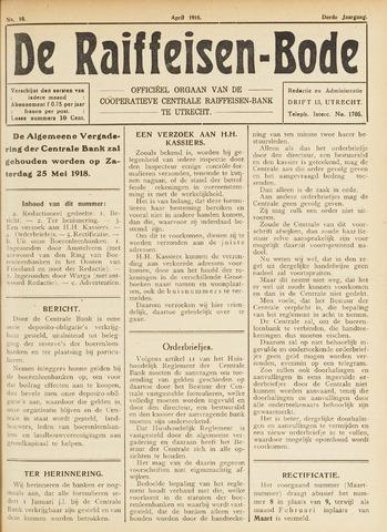 blad 'De Raiffeisen-bode' (CCRB) 1918-04-01