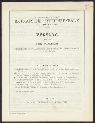 Jaarverslagen Bataafsche Hypotheekbank 1943
