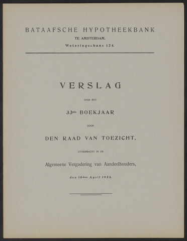 Jaarverslagen Bataafsche Hypotheekbank 1922