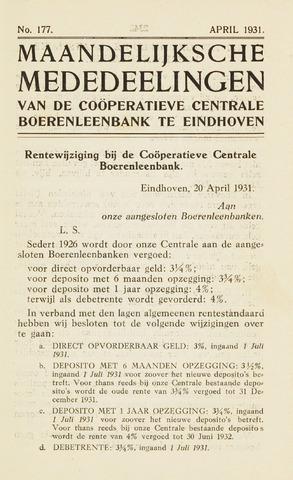 blad 'Maandelijkse Mededelingen' (CCB) 1931-04-01