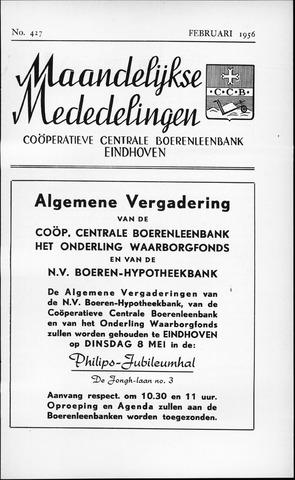 blad 'Maandelijkse Mededelingen' (CCB) 1956-02-01