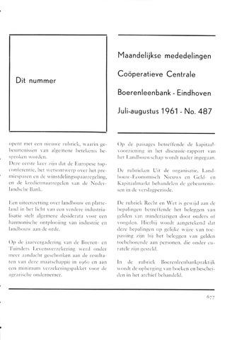 blad 'Maandelijkse Mededelingen' (CCB) 1961-07-01