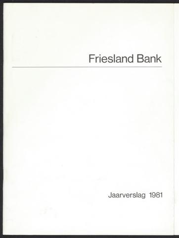 Jaarverslagen Friesland Bank 1981