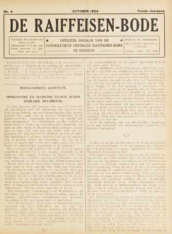 blad 'De Raiffeisen-bode' (CCRB) 1924-10-01
