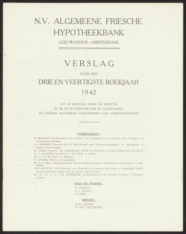 Jaarverslagen Algemeene Friesche Hypotheekbank 1942