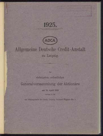Geschäftsberichte Allgemeine Deutsche Credit-Anstalt / ADCA Bank 1925-01-01