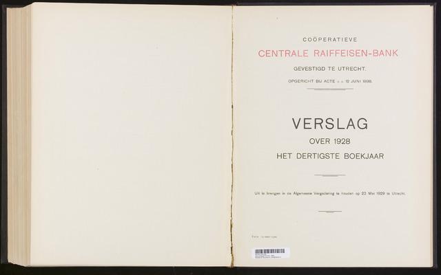 Jaarverslagen Coöperatieve Centrale Raiffeisen-Bank 1928